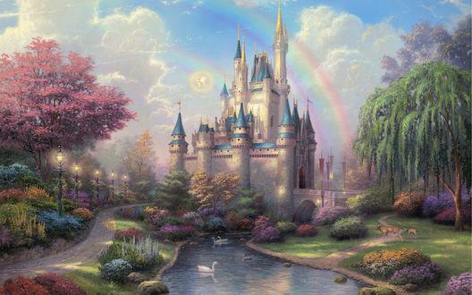 Обои Замок Золушки / Cinderella с прудом, в котором плавают белые лебеди, с прекрасным садом и цветущими деревьями, с радугой в голубом небе, художник Томас Кинкейд / Thomas Kinkade