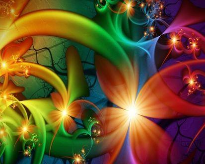 Обои Яркий узор из бликов и фрактальных цветов