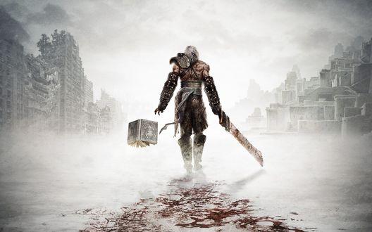 Обои Главный герой из игры Nier идет по пустынному городу рядом летит магическая книга White Book / Белуя книга