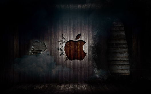 Обои Логотип компании Apple / Яблоко / Эппл на темном фоне из досок, облезшей краски и веток