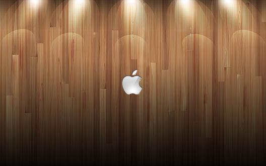 Обои Логотип компании Apple / Яблоко / Эппл на фоне паркета / досок / деревянной текстуры