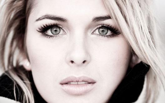 Обои Тонкие губки и серые проницательные глаза блондинки Кирстен Праут / Kirsten Prout