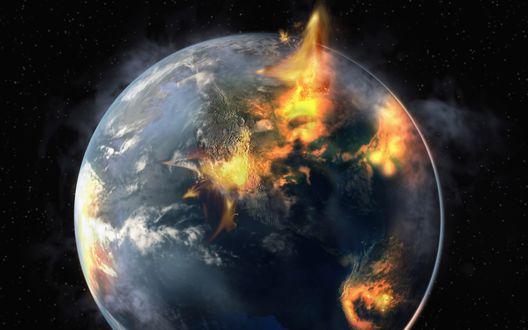 Обои Конец света, горящая планета