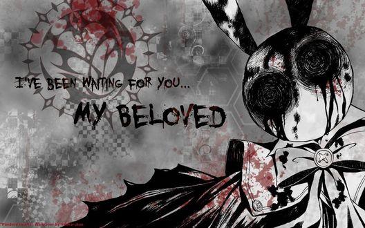 Обои White Bloody Rabbit / Кровавый Белый Кролик из аниме Сердца Пандоры / Pandora Hearts ( i've been waiting my beloved / Я ждал моего возлюбленного )