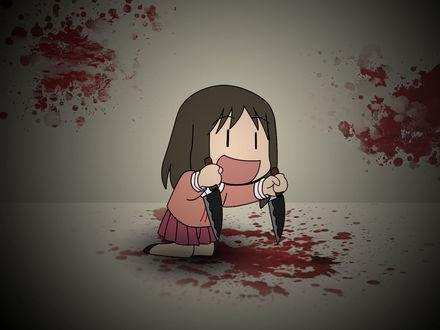 Обои Маленькая улыбающаяся девочка с двумя ножами, вокруг нее капли крови