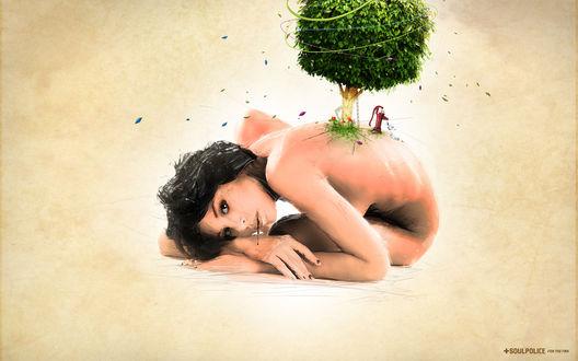 Обои Девушка с деревом на спине (+Soul police for the FWA / Душа полиции для FWA )