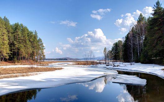 Обои Зимний пейзаж: речка покрытая снегом, по краю которой лес