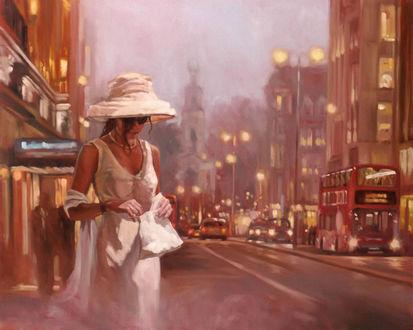 Обои Девушка в очках и белой шляпе на улице вечернего города. Художник Mark Spain