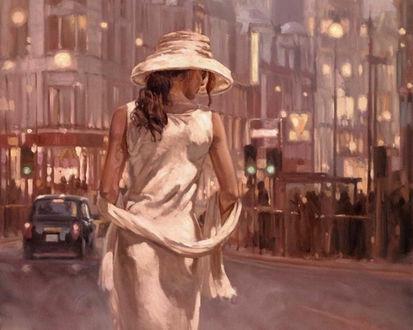 Обои Девушка в белом платье стоит спиной на улице среди огней ночного города