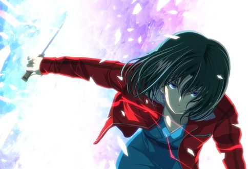 Обои Shiki Ryougi нападает с ножом в руке из аниме Kara no Kyokai / Сад грешников, art by Tsukumo