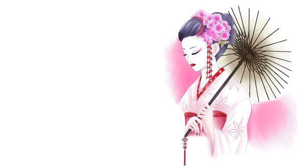 Обои Гейша в розовом кимоно, с цветами в волосах и зонтиком в руках