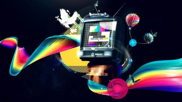 Обои Абстракция - разноцветное изображение с бабочками, воздушными шарами, голубем и телевизором, на экране которого испытательная таблица и надпись Radio free haskel (Look me!)
