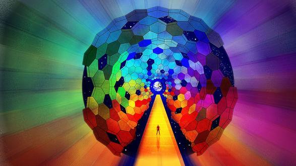 Обои Абстракция - назад в будущее, яркий шар и у входа в него человек
