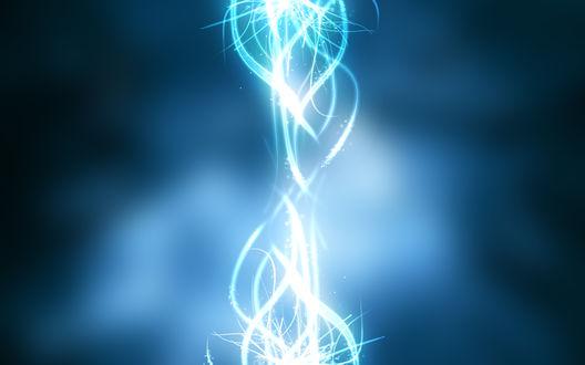 Обои Абстракция - переплетающиеся лучи на синем фоне