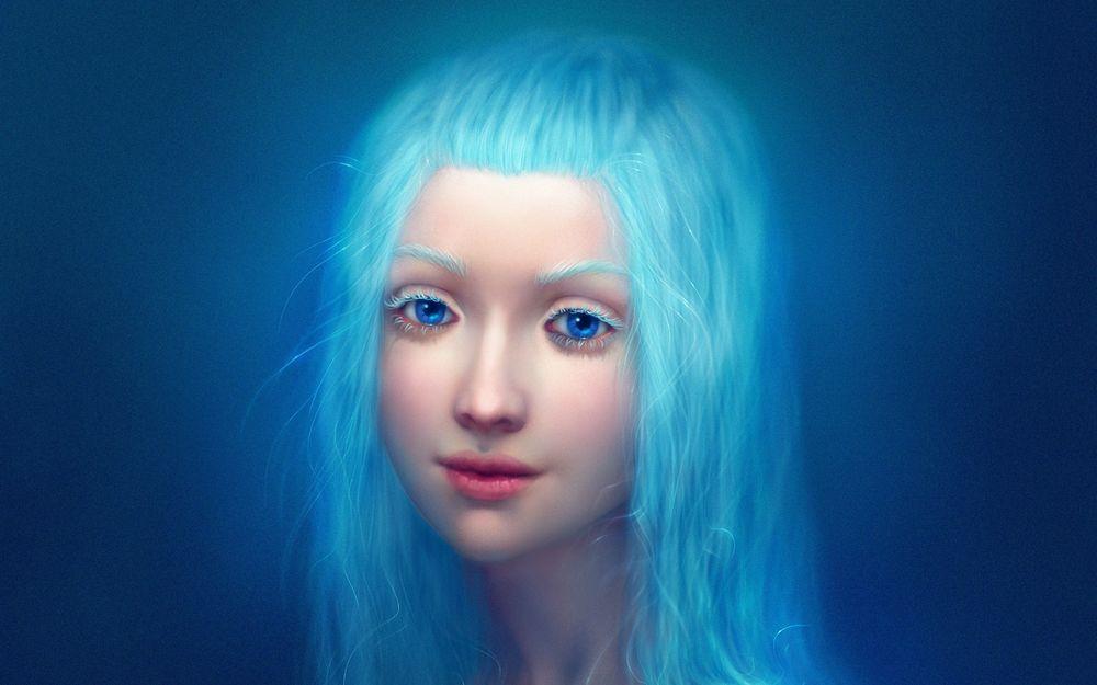 Обои для рабочего стола Девушка с ярко-голубыми волосами