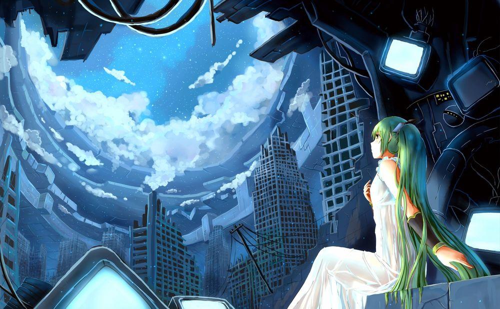 Обои для рабочего стола Вокалоид Мику Хатсуне / Vocaloid Miku Hatsune смотрит на небо в полуразрушенном городе