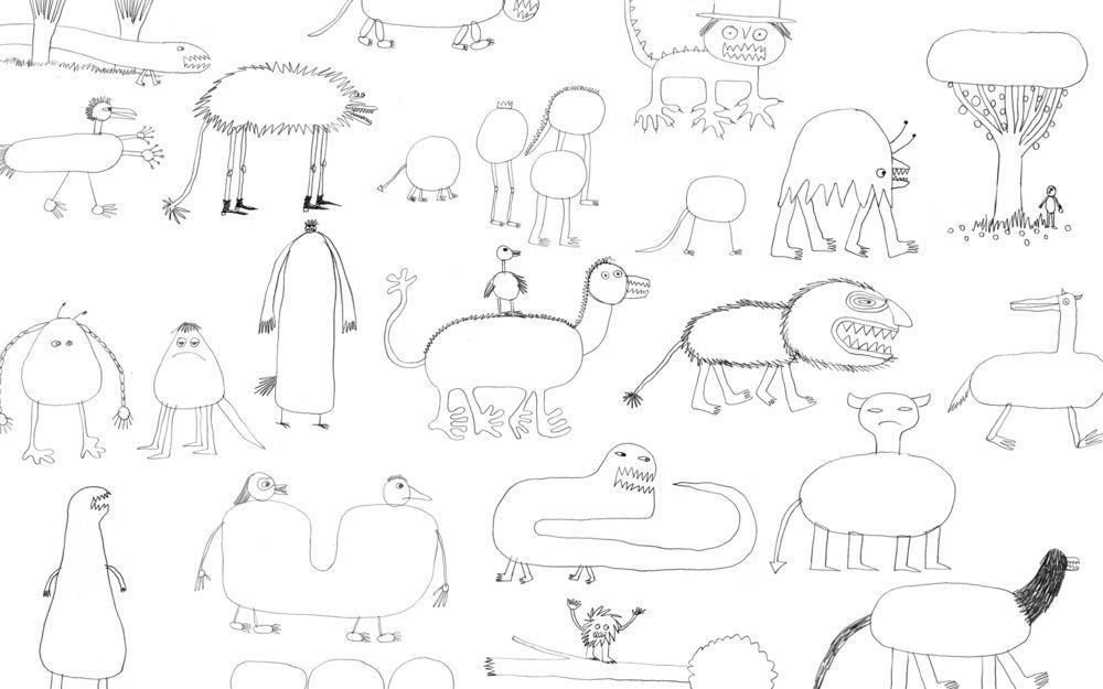 Обои для рабочего стола Необычный зоопарк с животными и монстрами из детских фантазий