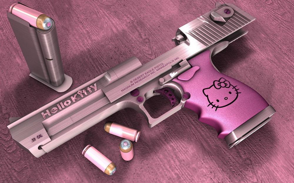 Обои для рабочего стола Боевой пистолет розового цвета с эмблемой Hello kitty и полной обоймой (desert eagle pistol magnum research inc. Minneapolis min.)