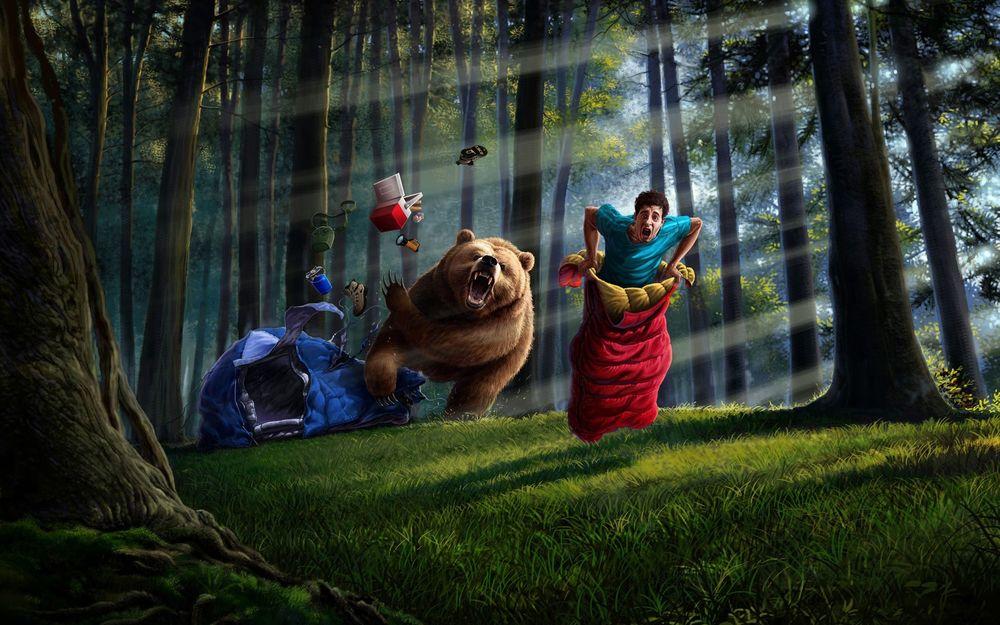 Обои для рабочего стола Испуганный мужчина в красном спальном мешке, поспешно, прыжками, пытается убежать от разъярённого медведя, разворотившего его палатку
