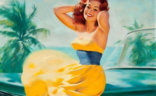 Обои Девушка в желтом платье около машины, pin-up, art by Bill Medcalf