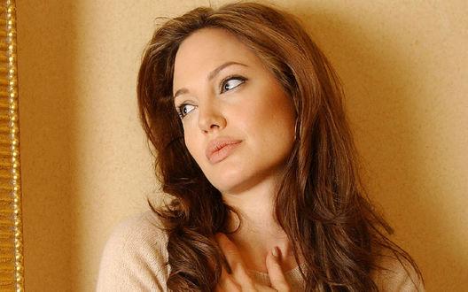 Обои Angelina Jolie / Анджелина Джоли у стены мечтательно смотрит в окно