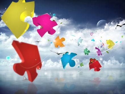 Обои Разноцветные кусочки пазла летят по небу