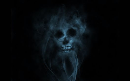 Обои Череп из дыма на черном фоне