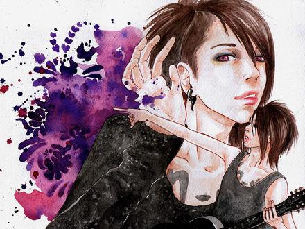 Обои Miyavi / Мияви - популярный японский певец, классический и рок-гитарист, выступающий в направлении вижуал кей / visual kei