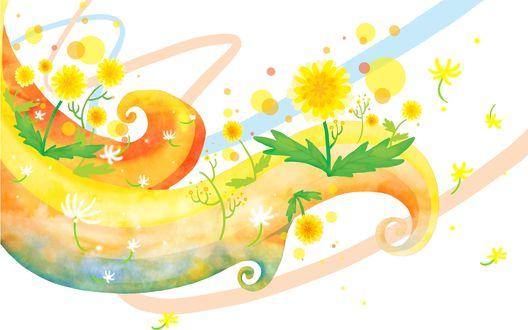 Обои Радуга и цветущие одуванчики