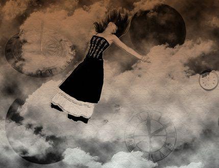 Обои Девушка в чёрно-белом платье, падающая в облаках, сквозь которые видны циферблаты часов