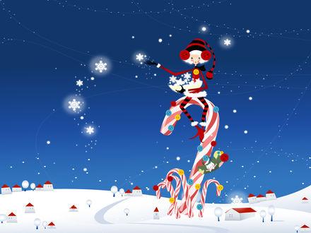 Обои Белокурая эльфийка в новогоднем костюме сидит на леденцах, украшенных разноцветными пуговицами, и разбрасывает снежинки