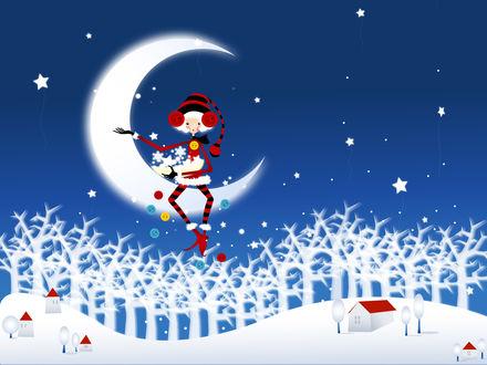 Обои Белокурая эльфийка в новогоднем костюме сидит на месяце и разбрасывает снежинки, звёздочки и пуговицы