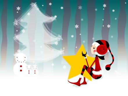 Обои Белокурая эльфийка в новогоднем костюме сидит со звёздочкой около елки и снеговиков