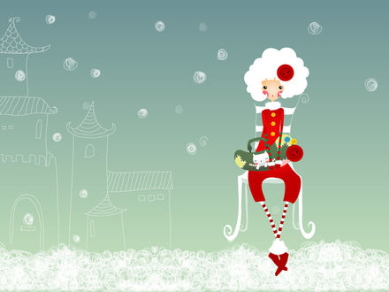 Обои Белокурая эльфийка в новогоднем костюме с белым котёнком в сумочке сидит на стуле