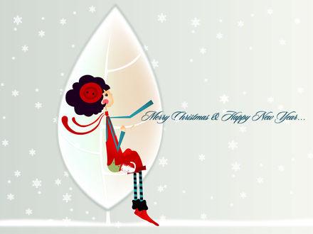 Обои Девочка в новогоднем костюме сидит на фоне дерева и падающих снежинок и мечтательно смотрит вверх, рядом спит белый котёнок (Merry Christmas & Happy New Year)