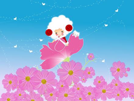 Обои Белокурая эльфийка с белым котёнком сидит на розовом цветке и слушает музыку в наушниках из двух красных пуговиц