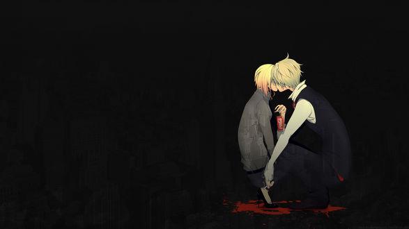 Обои Шизуо и Ворона из аниме Дюрарара / Durarara целуются, сидя на корточках (Всё будет Coca-Cola))