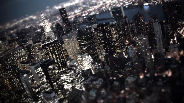 Обои Соединенные Штаты Америки / USA, город New York / Нью-Йорк  ночью, с эффектом тилт шифт / tilt Shift