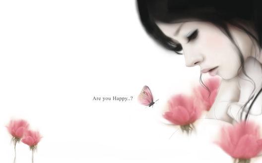 Обои Девушка на белом фоне среди розовых тюльпанов и порхающая возле них бабочка с розовыми крылышками (A you Happy..?)