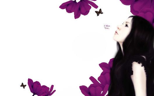 Обои Милая девушка-брюнетка в чёрном на белом фоне среди фиолетовых цветов с порхающими возле них бабочками смотрит вверх (i miss you..)