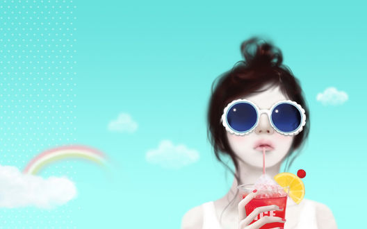 Обои Девушка в круглых солнцезащитных очках с синими стёклами на фоне бирюзового неба с радугой и облаками пьёт коктейль (ICE)