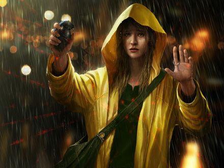 Обои Девушка в желтом плаще с капюшоном, находящаяся под дождем, со слезами на глазах в отчаяние выдернула чеку из боевой гранаты, подвергнув себя смертельной опасности
