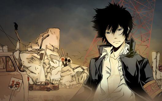 Обои Hibari Kyouya / Хибари Кёя из аниме Репетитор-киллер Реборн / Katekyo Hitman Reborn на фоне развалин
