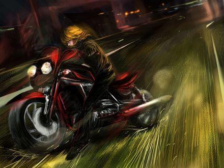 Обои Keehl Mihael (Mello) / Михаэль Кэль (Мэлло) из аниме Тетрадь Смерти / Death Note гоняет на мотоцикле по улицам ночного города, art by RikaMello