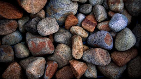 Обои Крупная галька, ровные серые камни