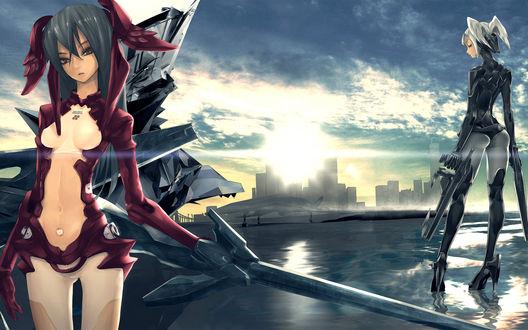 Обои Две аниме девушки с оружием стоят на крыше дома