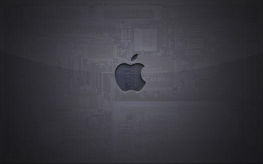 Обои Логотип компании Эппл / Apple на полупрозрачном фоне материнской платы
