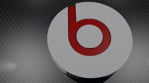 Обои Логотип акустической аппаратуры Beats by Dr. Dre на сером полосатом фоне