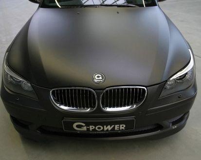 Обои Черный матовый БМВ М5 / BMW M5 тюнингованный компанией джи пауэр / G-POWER