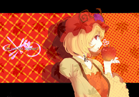 Обои Богиня урожая Минорико Аки / Aki Minoriko из Тохо / Touhou Project с яблоком на ладони (Do you like Autumn?)